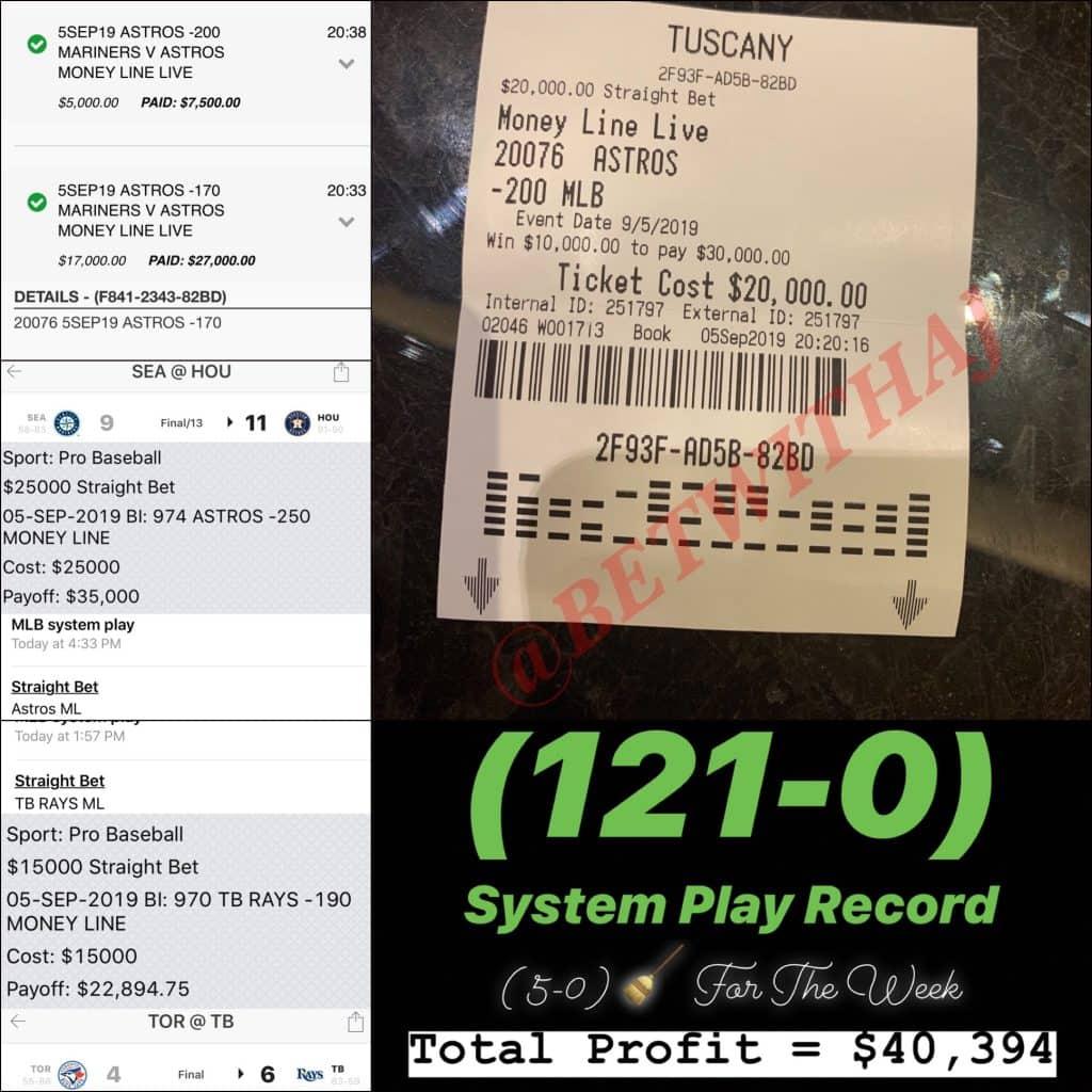 Winning Sports Betting TIcket