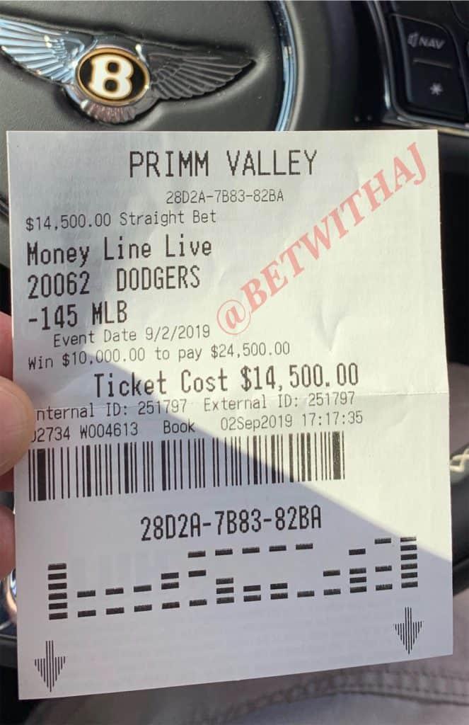 MLB Dodger winning ticket